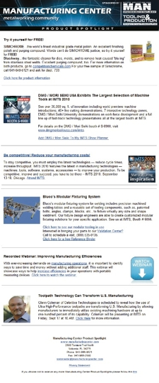picture of a sample Manufacturing Center eNewsletter